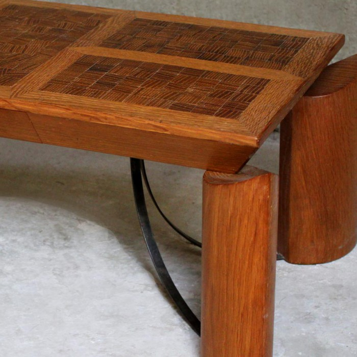 Table longue plateau en bois debout pi tement structure acier et tiroirs c - Pietement de table bois ...