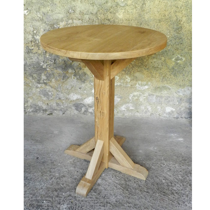 Table ronde en bois en ch ne massif huil et autres - Table ronde cocktail scandinave ...