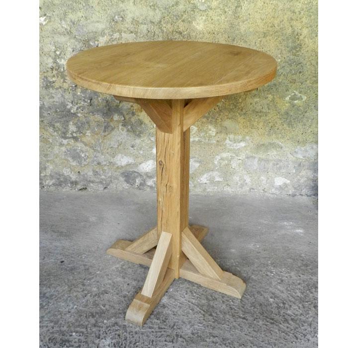 table ronde mange debout en bois massif chêne huilé